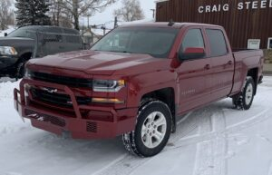 Custom bumper on Chevy in red
